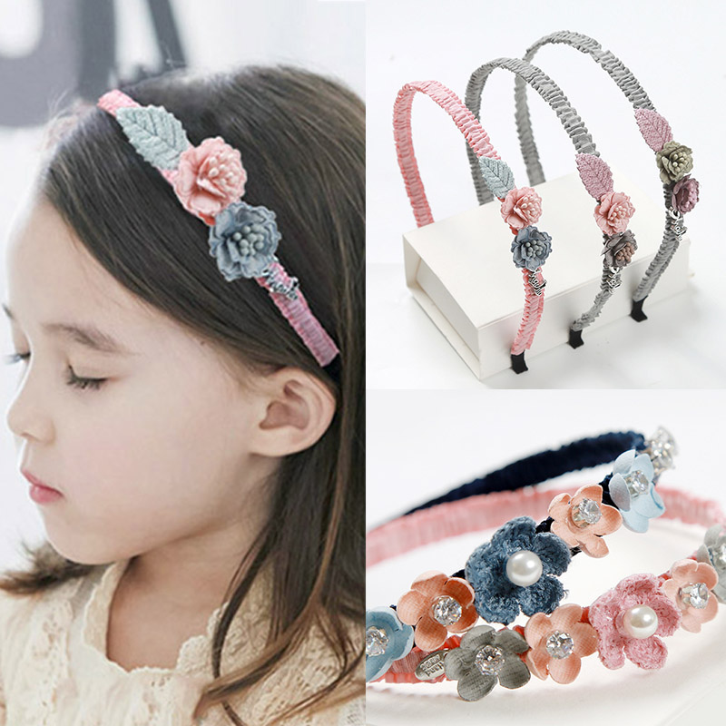 Fashion Sweet flowers Rhinestone colth children Girls Hairbands High Quality Popular Kids Headband Hair Accessories in Hair Accessories from Mother Kids