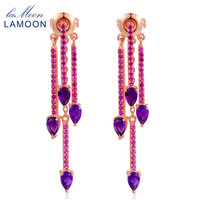 Lamoon Multifunction Natrual TearDrop Amethyst 925 Sterling Silver Drop Earrings Rose Gold Plated S925 Jewelry For