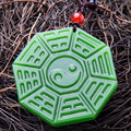 Natural green hetian jade hand carved tai chi gossip Women sweater chain necklace pendant Jewelry Gift