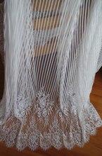 Branco Chantilly lace tecido com borda scalloped 3 metros