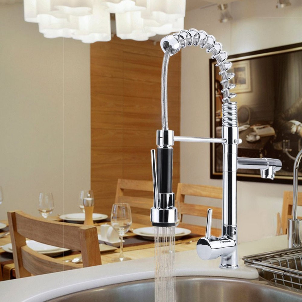 Durable home kitchen sink faucet fashion hot cold water tap spring type chrome finish brass pull out faucet