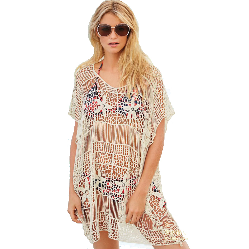 Tooou Women Ecru Lace Beach Cover Up, Bathing Suit Cover -6666