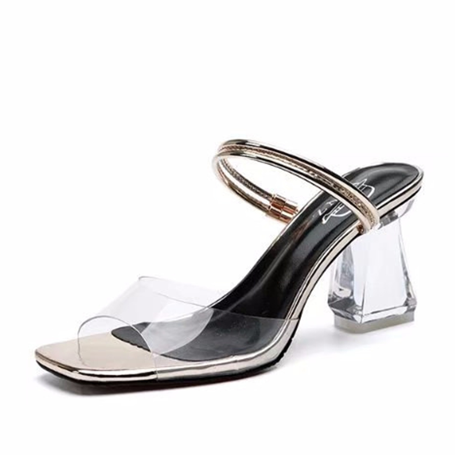 Fashion Women Transparent High Heel Sandals Simple Elegant Thick Heel Sandals Summer Cool Wedding Woman Shoes