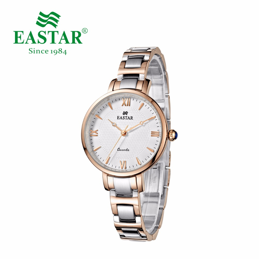 Eastar Fashion Roman Numeral Watch Women Creative Rose Gold And Silver 30M Waterproof Quartz Wristwatches Luxury Bracelet Clock все цены
