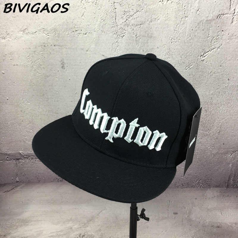 d81dd808926 ... New 2018 Fashion Men Cap Black Compton Letters Embroidery Snapback Hats  Hiphop Hat Baseball Cap Hip