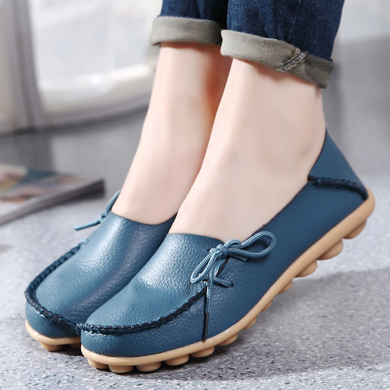 Women Flats Shoes Slip On Loafers Plus Size Genuine Leather Casual Shoes Women Moccasins Knot Ladies Shoes Female Footwear QT179 camel active 2018 new authentic brand casual men genuine leather loafers shoes handmade moccasins shoes outdoor flats plus size