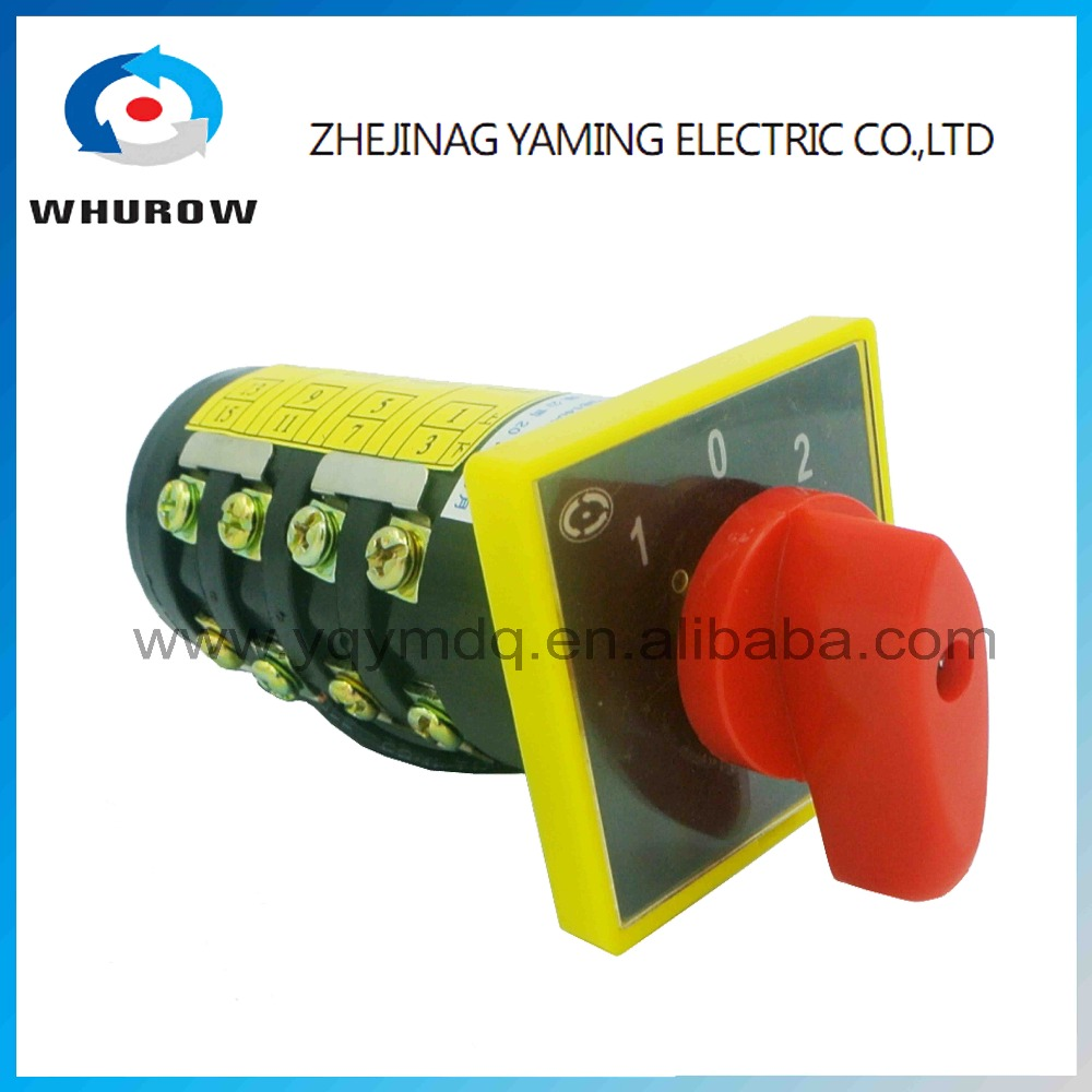 HZ5B-10/4 M08 changeover rotary cam combination switch four poles 3 positions 102 3kW 10A sliver point contacts connection ui 440v ith 10a rotary knob 3 positions changeover cam switch station