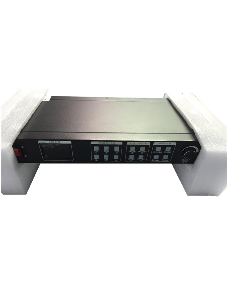 2048 x 1152 or 2304x 816 output 2*CVBS 1*DVI 1*HDMI 1*VGA 1*USB 1*EXT 2 LED Transmission Cards KYSATR KS600 LED video processor