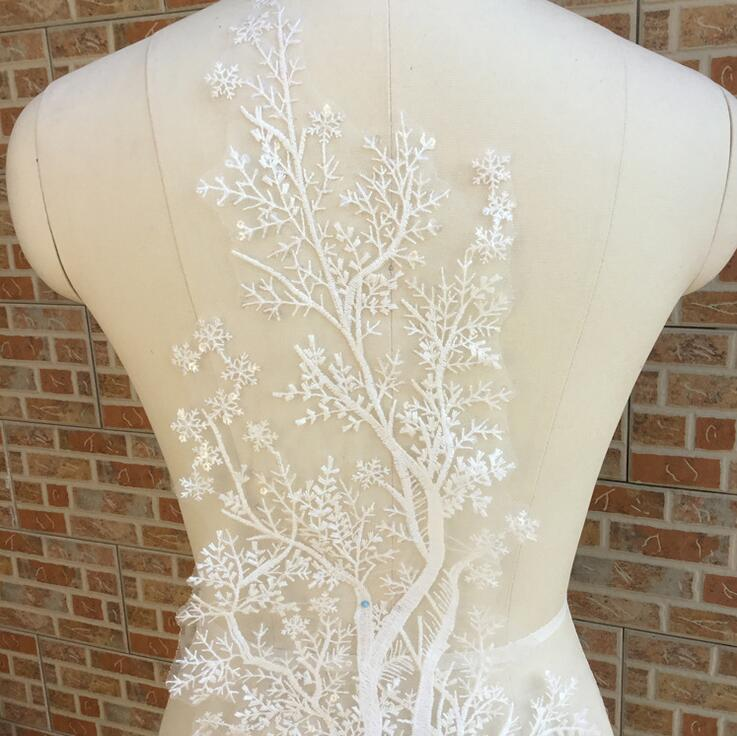 Cindylaceshow 1PC Lace Tree Fabric Ivory White Cotton Embroidered Lace Applique DIY Bridal Wedding Dress Accessories Lace Motif in Lace from Home Garden
