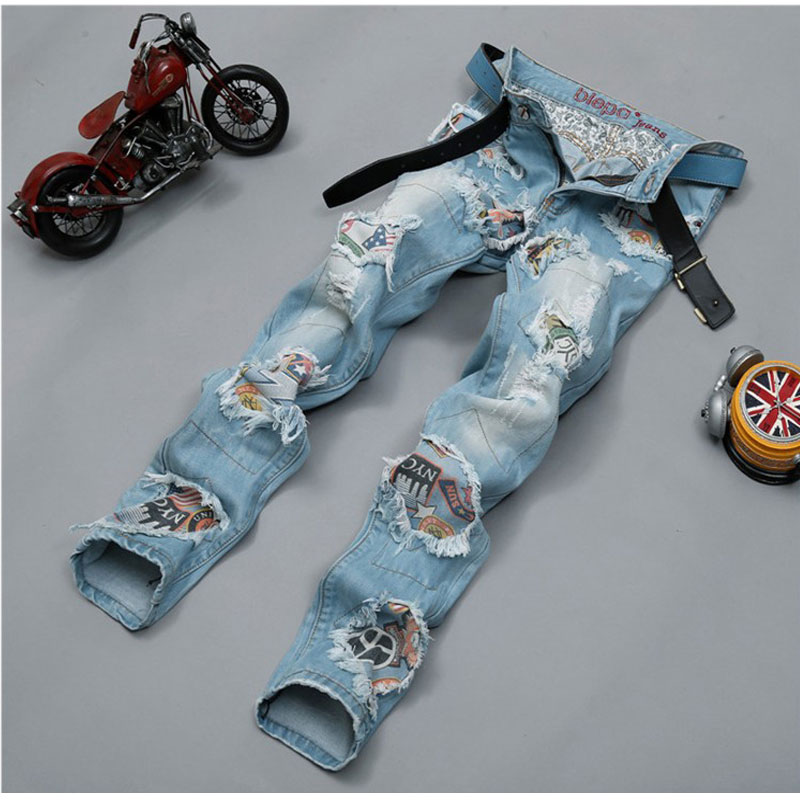 цена на New Men's Personality Night Club Jeans Patchwork Spliced Ripped Denim Jeans Male Straight Slim Patch Beggar Hole Pants 29-38