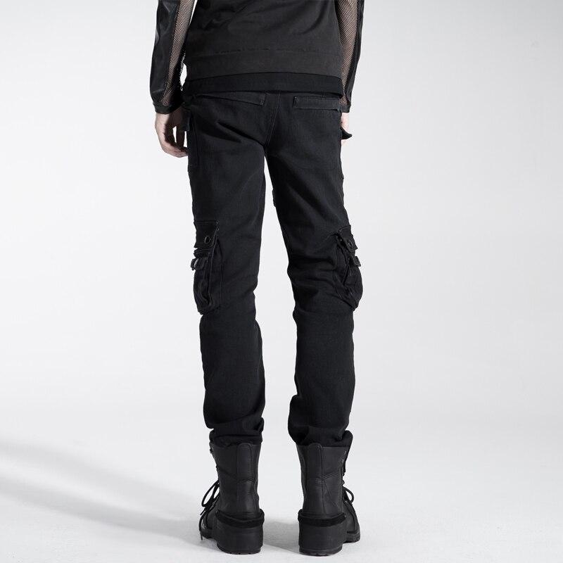 2018 hommes personnalité Punk sac à double fermeture éclair pantalon Rivet ample salopette noir avec ceinture chaussures décontractées pour homme - 3