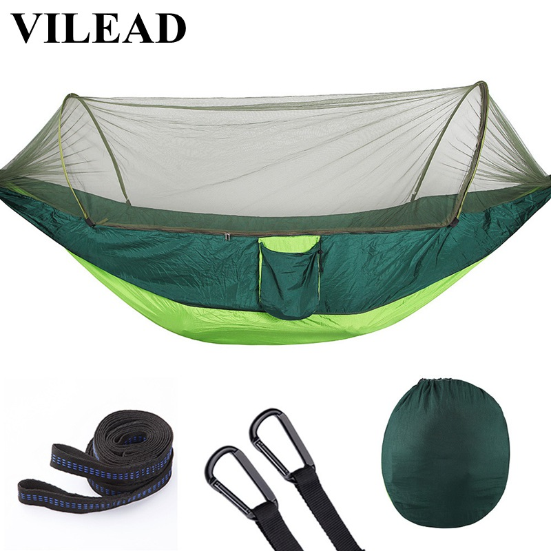 VILEAD Automatic unfolding Hammock with Mosquito Stable Ultralight Portable Hiking Hunting Camping Cot Sleeping Bed 290*140 cm-in Camping Cots from Sports & Entertainment