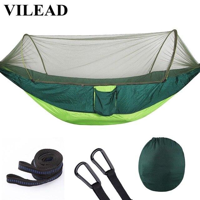 VILEAD hamac dépliable automatique avec moustique Stable ultra léger Portable randonnée chasse Camping lit de couchage lit 290*140 cm