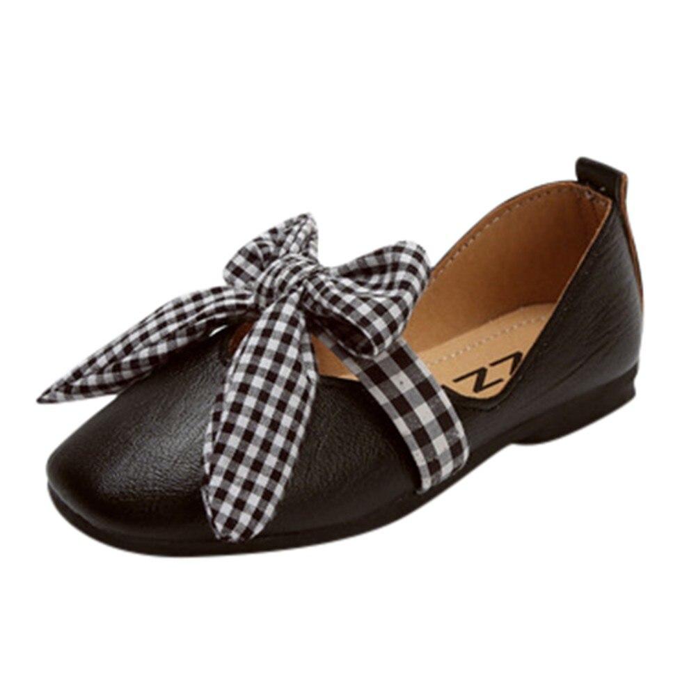 100% Wahr Kinder Kind Baby Mädchen Mode Feste Plaid Bowknot Prinzessin Student Einzigen Slip-on Casual Schuhe