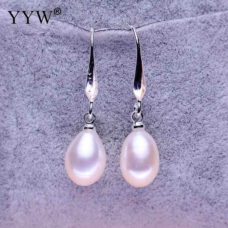 Detail Feedback Questions about Freshwater Pearl Earrings White Teardrop Freshwater  Pearl earring hook Rice silver color plated natural 7 8mm Sold By Pair ... c42491308a19