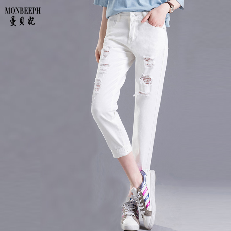 MONBEEPH Sexy Hole Denim Jeans Women High Waist Ankle-length Vintage hole Ripped Denim Pants Trousers new summer vintage women ripped hole jeans high waist floral embroidery loose fashion ankle length women denim jeans harem pants