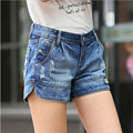 2016 Summer Korean Mid waist denim shorts loose big yards Slim casual female wide leg shorts Women Blue Short Jeans Z2244