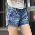 2016 Summer Korean Mid waist denim shorts loose big yards Slim casual female wide leg shorts Women Blue Short Jeans Z2244