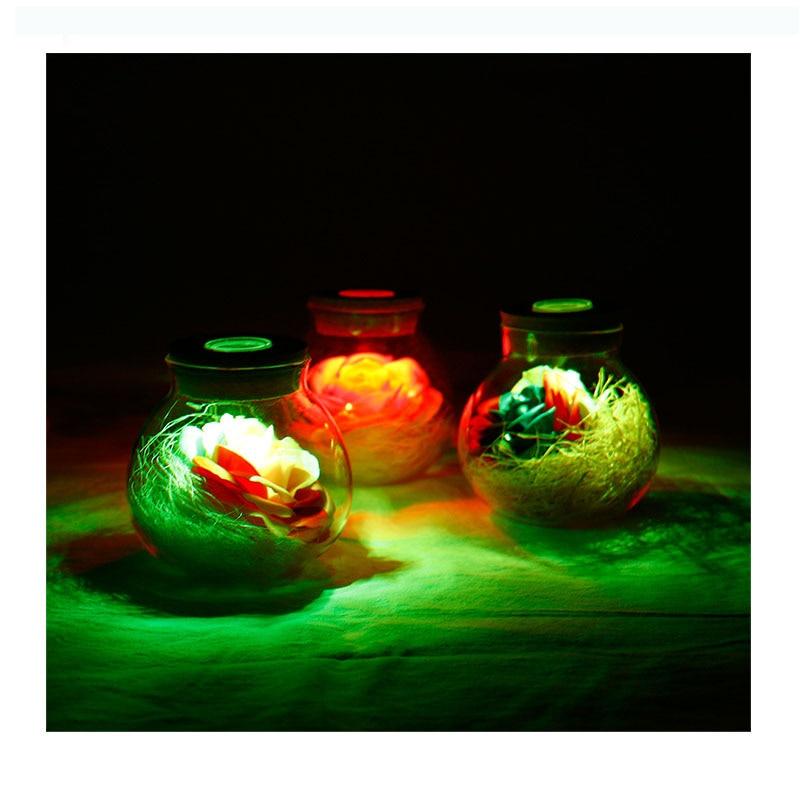 LED Romantic Bulb Light RGB Rose Flower Bottle Light with Remote Control 16 Color Dimmer Lamp Night Light Baby Mon Girl Gift Toy easter gift remote control led color change night light