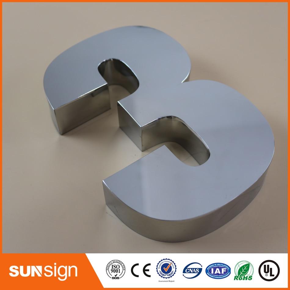Digital Door House Number 3 Stainless Steel Numbers