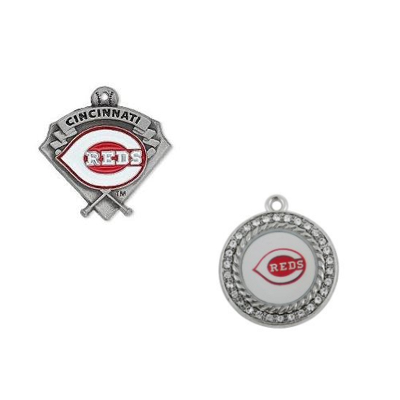 2 Styles Enamel Cincinnati Reds Pendant Charms Metal Baseball Team Charm Jewelry