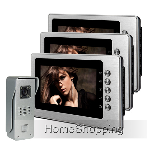 FREE SHIPPING Brand New Wired 7 inch Color Video Door phone Intercom System 1 Waterproof Doorbell Camera + 3 Monitors Wholesale