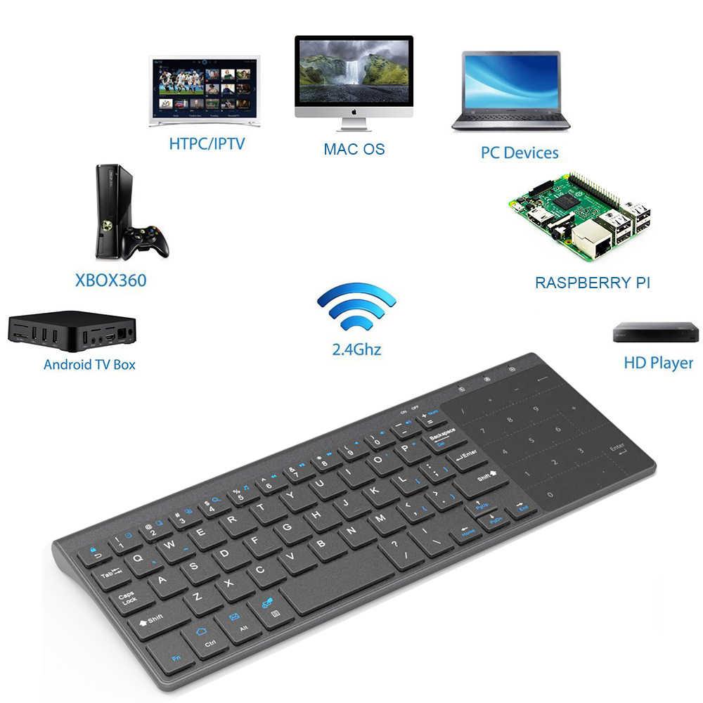 [Avatto] Tipis 2.4GHz USB Wireless Mini Keyboard dengan Nomor Touchpad Numeric Keypad untuk Android Windows Tablet desktop, Laptop, Pc