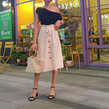Gogoyouth Summer Skirts Womens 2018 New Midi Knee Length Korean Elegant Button High Waist Skirt Female Pleated Sun School Skirt