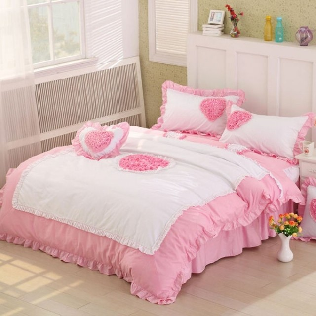 Pink Queen King Full Size Bedding Sets Rustic Princess Cotton Bedskirt Polka Dots Rose Flower Heart