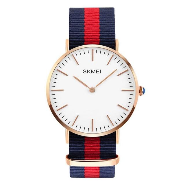 SKMEI relógio de Quartzo Dos Homens ultrafinos dial Relógio de Pulso Banda Nylon Clássico Relógios Masculino Listrado Top de Luxo Relogio masculino