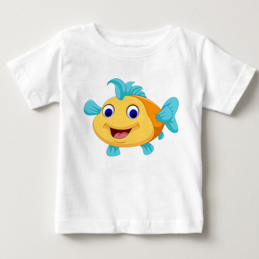 Kids Clothes Beautiful Mermaid Ariel Cartoon Print T-Shirt Casual Short Boys Girls Tops Tees Baby TShirt Childrens Clothing