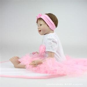 Image 5 - 55cm Reborn bebek bebekler vinil silikon gerçekçi canlı yumuşak bebekler Toddler yenidoğan oyuncak çocuklar erkek kız doğum günü noel hediyesi