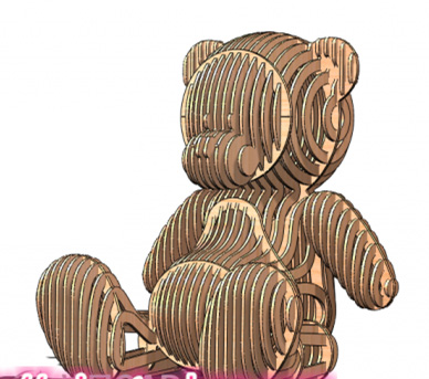 Teddy Bear DWG CAD Drawing Design File For Cnc Laser Cutting