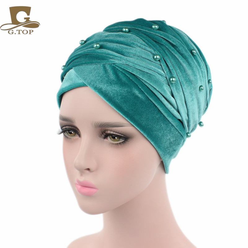 New luxury beaded pearled velvet turban long head scarf headwrap women muslim hijab Bandanas Hair Accessories 16
