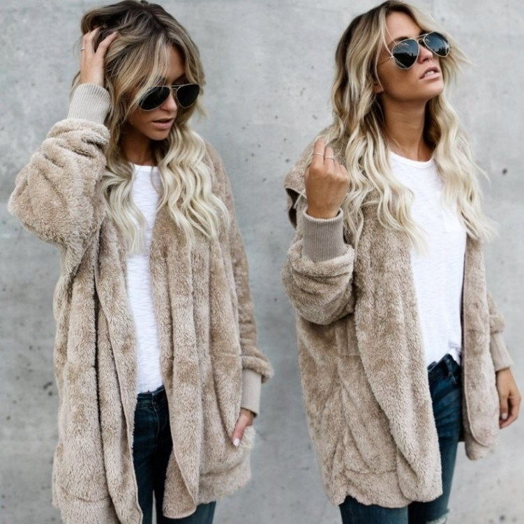 Autumn Winter New Women Plus Size Long Cardigan Hooded Long Sleeve Casual Sweaters Pockets Female Solid Oversize Loose Coat