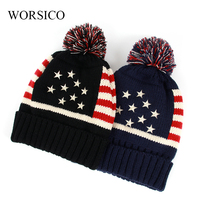 WORSICO New Winter Autumn Beanies Hat Unisex Warm Soft Star Pattern Knitting Hats Star Mask Caps
