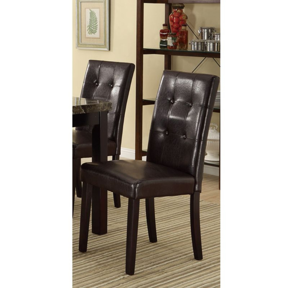 Faux Leather Dining Side Chair In Pine, Set Of 2, Dark Brown dg home кресло egg chair dark brown