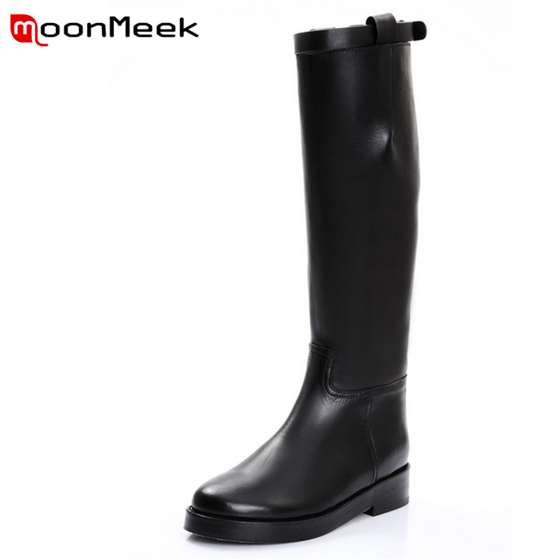 ФОТО New arrival hot sale buckle the knee high boots popular round toe square heels women for spring with genuine+microfiber