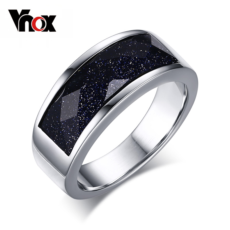 Vnox Unique Blue Gravel Rings for Women Silver-color Starry Sky Stone Rings 6pcs of stylish color glazed round rings for women