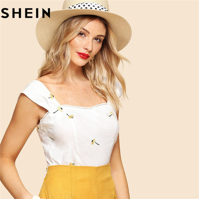 87cf87e16ba42c SHEIN Solid Cotton Sleeveless Casual Slim Fit Women Beige Blouse 2018  Summer Dot Crochet Embroidered Thick