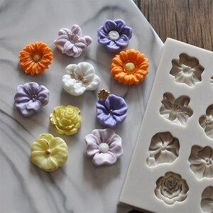 3D Sunflower Rose Flowers Silicone Cake Border Decoration Sugarcraft Cake Mold Polymer Clay Crafts DIY(China)