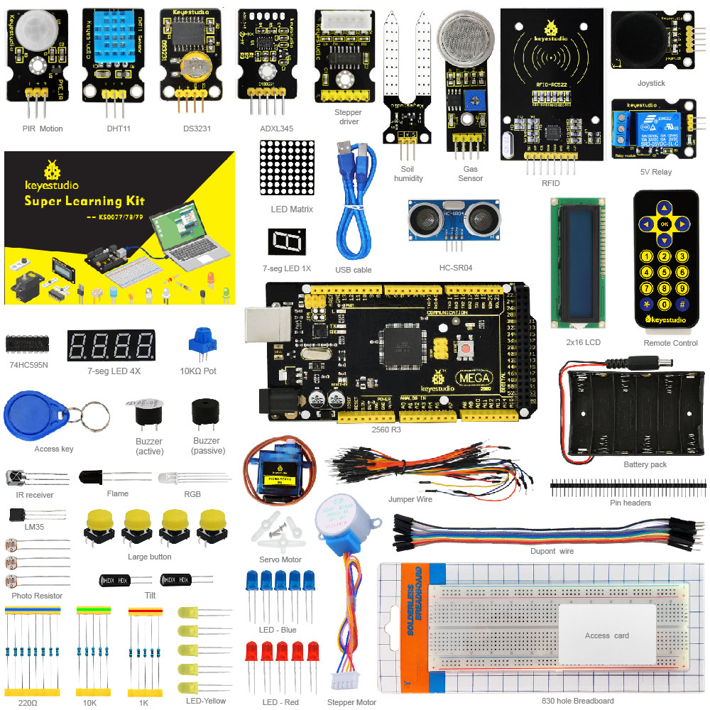 Keyestudio Super Starter Kit/kit de aprendizaje para Arduino Starter Kit con Mega2560R3/LCD1602/RFID/relé/ DS3231 + PDF + 32 projets y vástago