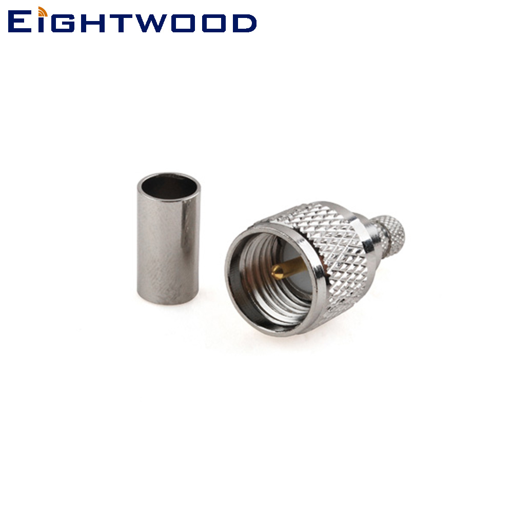 Eightwood Mini-UHF Plug Male RF Coaxial Connector Adapter Crimp LMR195 RG58 Cable For Antenna Aerial Cable Modems PC/LAN 50 Ohm