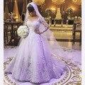 Vestido de noiva princesa vestido de Baile de Manga Longa Vestidos de Casamento Do Laço Appliqued Vestidos de Casamento Do vestido de casamento