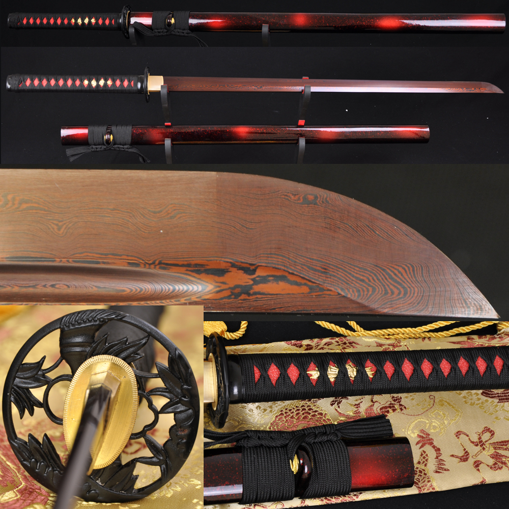 802f67ff3 41 كامل تانغ شفرة دمشق مطوية الصلب الأسود والأحمر مستقيم اليابانية  الساموراي النينجا السيف الحديد الخيزران تسوبا حادة جدا ل بيع