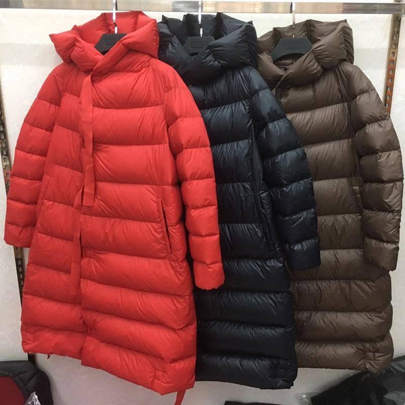 Ly Varey Lin Women Winter Ultra Light 90% White Duck Down Parka Loose Long Down Jacket Snow Warm Snow Hooded Parkas Overcoat