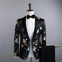 Куртка + Брюки для девочек модные Для мужчин Костюмы Пиджаки для женщин Slim Fit черный золотой цветочный певец DJ Свадебные Повседневное костюм