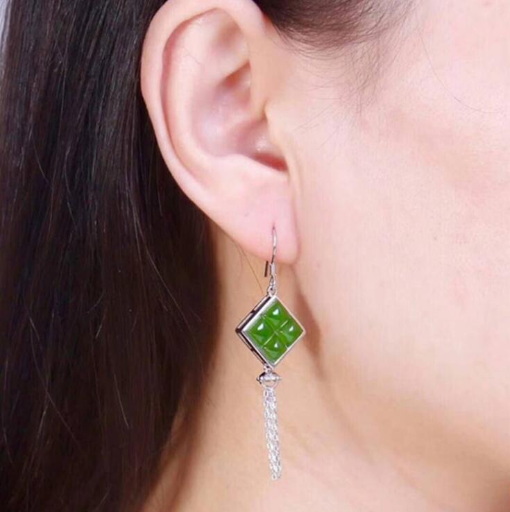 TJP pierre précieuse naturelle citrineb mosaïque S925 argent hétien jade jasper fête xing Chang sui zi boucle d'oreille femme Jade boucles d'oreilles