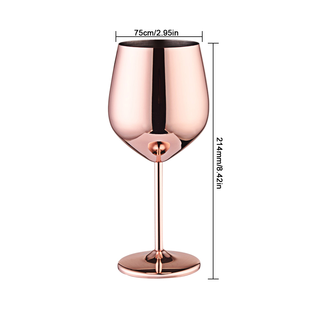 Wine Glasses Copper Silver Rose Gold Stainless Steel Goblet Juice