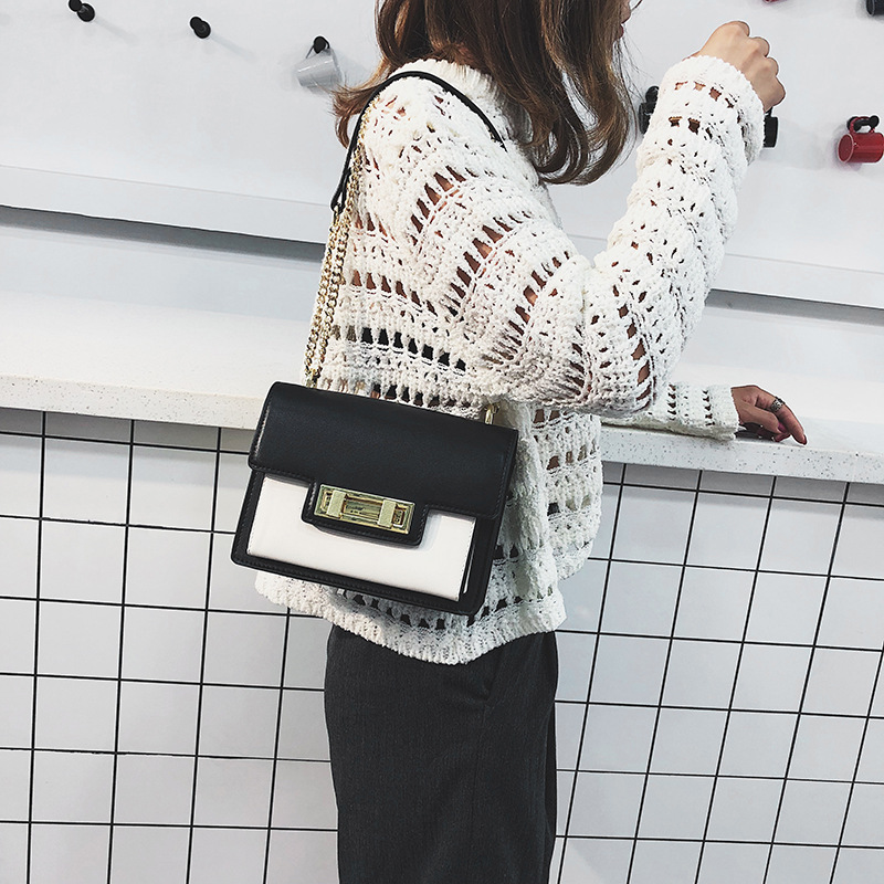Shoulder Bag for Woman 2019 New Fashion Messenger bag Trend Ladies Fashion Lock Small Square Chain bag Women's Patchwork  PU bag-in Shoulder Bags from Luggage & Bags    1